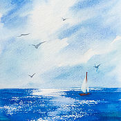 Картины и панно handmade. Livemaster - original item Pictures: Watercolor Sea.. Handmade.