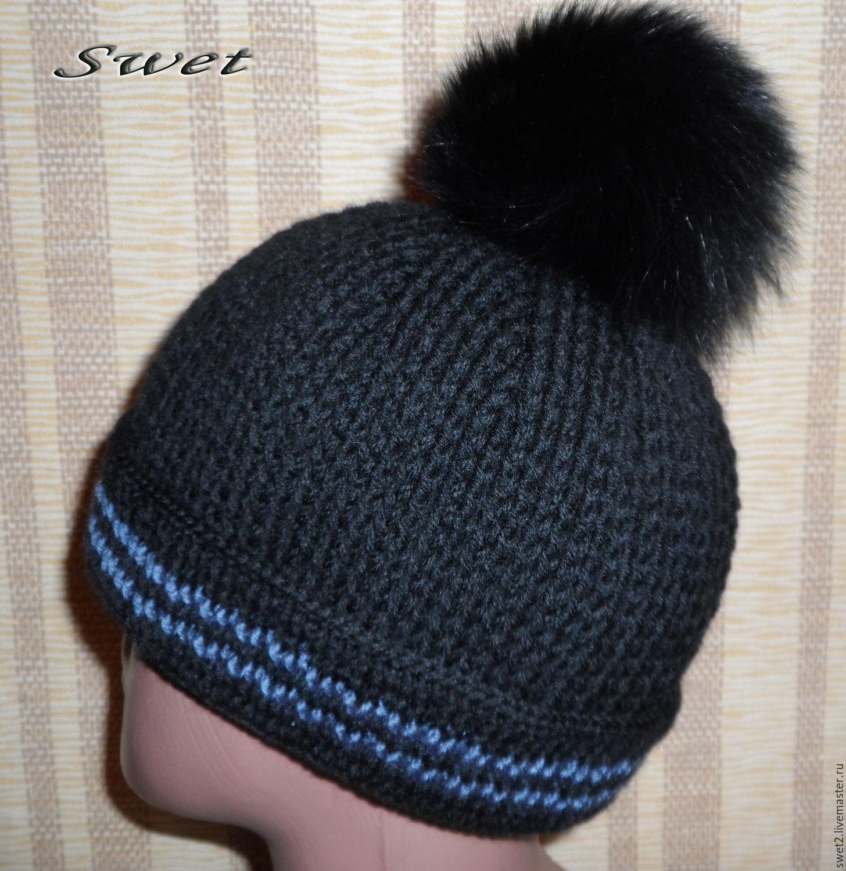 шапка мужская вязаная крючком викинг 3 с меховым помпоном купить