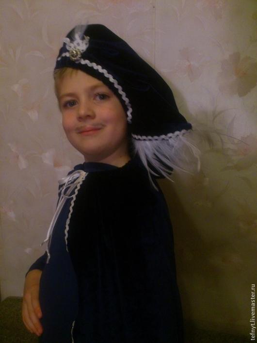 Детские карнавальные костюмы ручной работы. Ярмарка Мастеров - ручная работа. Купить Комплект для пажа. Handmade. Тёмно-синий, бархат