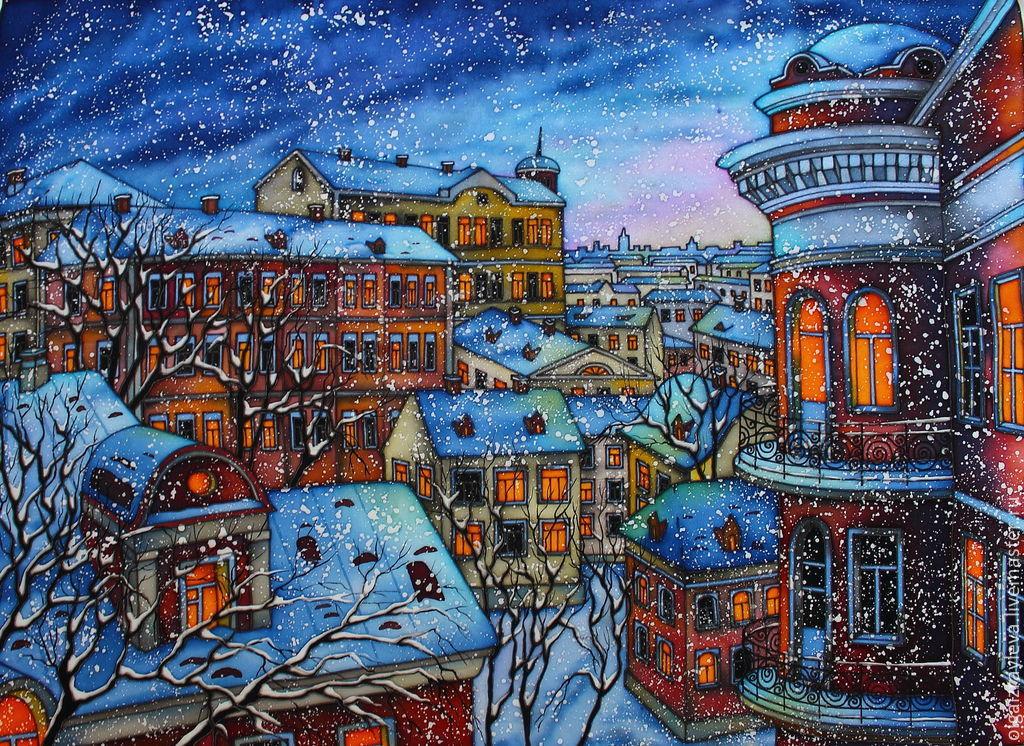 "Батик панно "" Старая Москва"", 50х70, Картины, Липецк,  Фото №1"