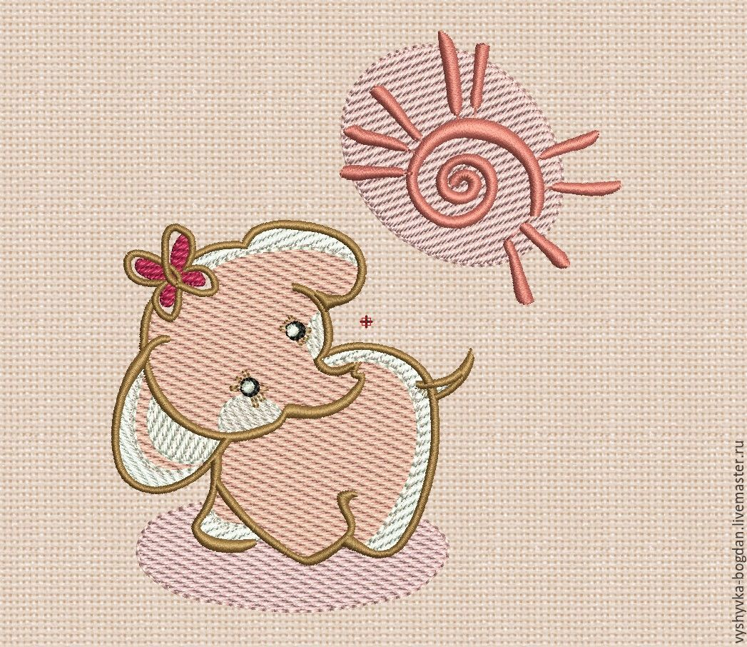 Machine embroidery design. Elephant bt008. The size of the hoop is 18 x 13 cm. Formats: pes dst exp hus vip vp3 jef xxx