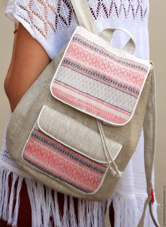 Рюкзаки ручной работы. Ярмарка Мастеров - ручная работа. Купить Рюкзак ручной работы, лён,славянский орнамент. Handmade. Рюкзак