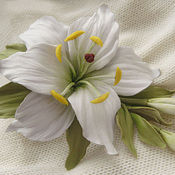 handmade. Livemaster - original item The colors of the skin .Decoration brooch pin WHITE LILY. Handmade.