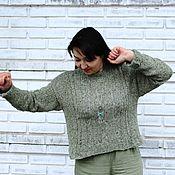 Одежда handmade. Livemaster - original item Oversize knitted tweed jumper, woolen warm fern sweater. Handmade.