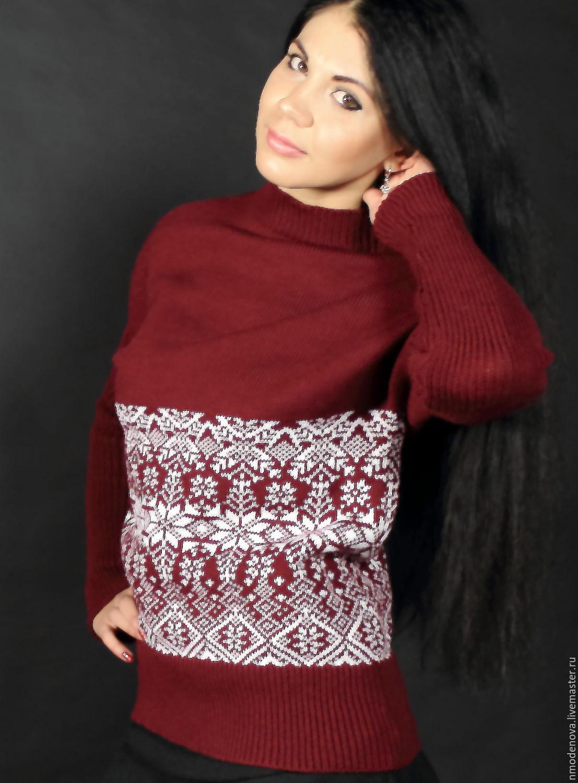 Кофты и свитера ручной работы. Ярмарка Мастеров - ручная работа. Купить Вязаный свитерок «Марсала». Handmade. Зима, кофта