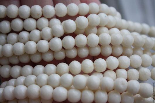 Для украшений ручной работы. Ярмарка Мастеров - ручная работа. Купить Коралловый известняк, белые гладкие бусины 8 мм. Handmade.