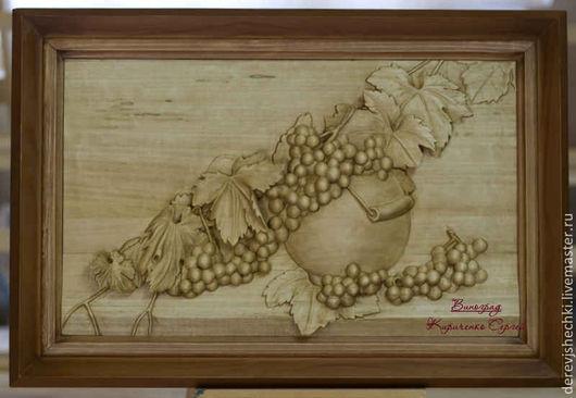 Натюрморт ручной работы. Ярмарка Мастеров - ручная работа. Купить Натюрморт с виноградом. Handmade. Коричневый, панно, ручная работа