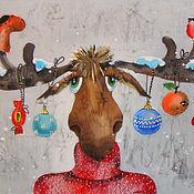 Картины и панно ручной работы. Ярмарка Мастеров - ручная работа Новогодний лось РЕЗЕРВ. Handmade.