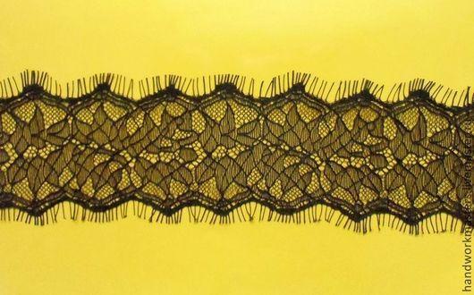 Кружево черное ажурное с ресничками.Ширина 7см.  !!!Цена указана за 1м, продается только отрезом 2,9м (так упаковано на фабрике)!!!!