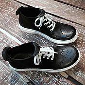 Обувь ручной работы. Ярмарка Мастеров - ручная работа Кожаные кеды-броги ЧБ. Handmade.