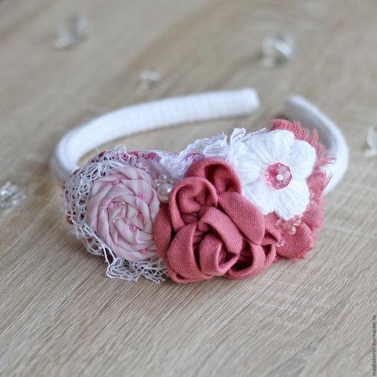 Диадемы, обручи ручной работы. Ярмарка Мастеров - ручная работа. Купить Розовый ободок. Handmade. Коралловый, цветочный