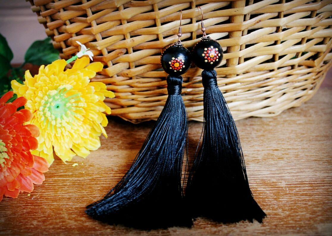 Earrings hand painted bead, Tassel earrings, Novopavlovsk,  Фото №1