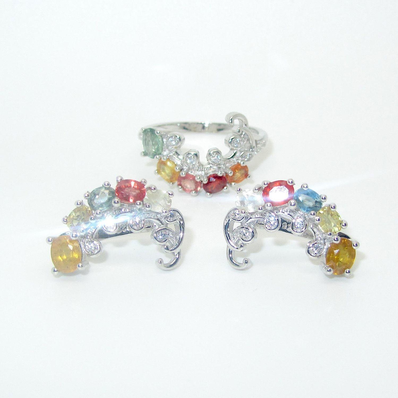 Серьги и кольцо с сапфирами серебряные, Комплекты украшений, Самара,  Фото №1