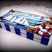 Для дома и интерьера ручной работы. Ярмарка Мастеров - ручная работа Шкатулка-купюрница в морском стиле. Handmade.