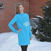 Одежда ручной работы. Ярмарка Мастеров - ручная работа Теплое платье бирюза с принтом. Handmade.