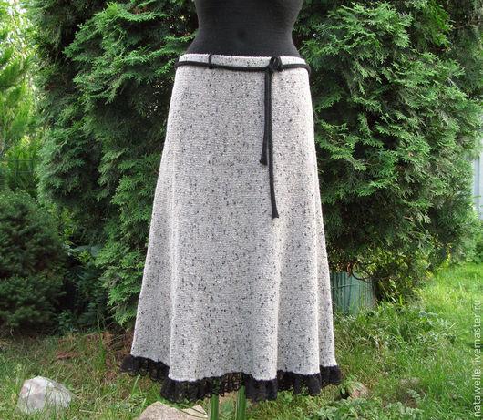 Юбки ручной работы. Ярмарка Мастеров - ручная работа. Купить шерстяная вязаная юбка с отделкой. Handmade. Серый, вязаная юбка