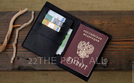 Обложки ручной работы. Ярмарка Мастеров - ручная работа. Купить Обложка для паспорта из кожи.. Handmade. Черный, обложка для документов