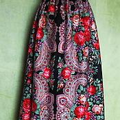 Одежда ручной работы. Ярмарка Мастеров - ручная работа Юбка из платков,стиль а-ля рус,на резинке,теплая. Handmade.