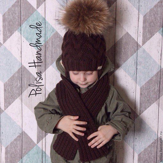 Шапки и шарфы ручной работы. Ярмарка Мастеров - ручная работа. Купить Зимняя шапка с помпоном + шарф. Handmade. Орнамент