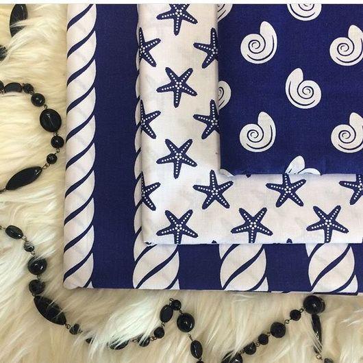 Шитье ручной работы. Ярмарка Мастеров - ручная работа. Купить Ракушки, канат и звезды на темно синем и белом фоне. Handmade.