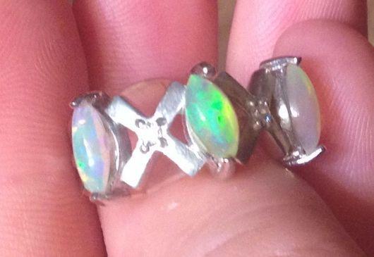 """Кольца ручной работы. Ярмарка Мастеров - ручная работа. Купить """"Трио"""" серебряное кольцо с опалом Эфиопии. Handmade. Опал, вставка"""