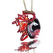 Украшения handmade. Livemaster - original item Pendant red beads with natural stone, hand-painted Guardian. Handmade.