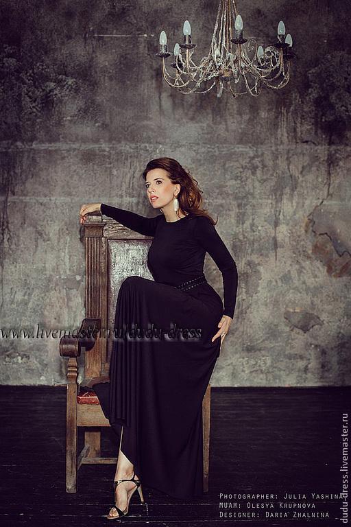 Платья ручной работы. Ярмарка Мастеров - ручная работа. Купить Платье в пол черное. Handmade. Морская волна, в пол, вечернее