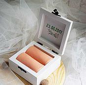 Свадебный салон ручной работы. Ярмарка Мастеров - ручная работа Peach - свадебная шкатулка для обручальных колец. Handmade.