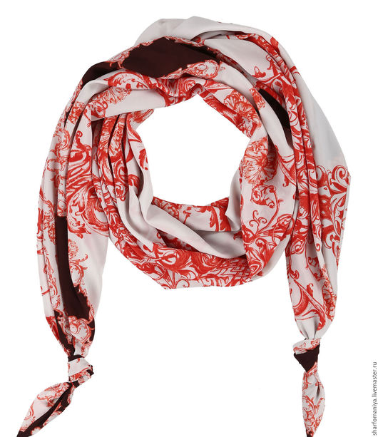 Двойной шарф-долька с узелками `Апрель`  - dolka-шелк-z-0316-214
