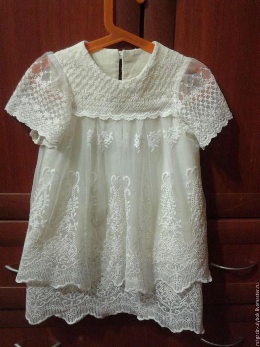 Одежда для девочек, ручной работы. Ярмарка Мастеров - ручная работа. Купить Кружевное платье, детское. Handmade. Белый, Платье нарядное