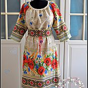Одежда handmade. Livemaster - original item MIDI dress Polyanochke with lace. Handmade.
