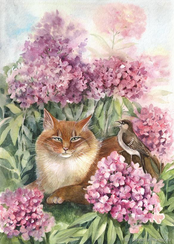 Картина акварелью с рыжим котом - С добрым утром, Рыжий!, Картины, Подольск,  Фото №1