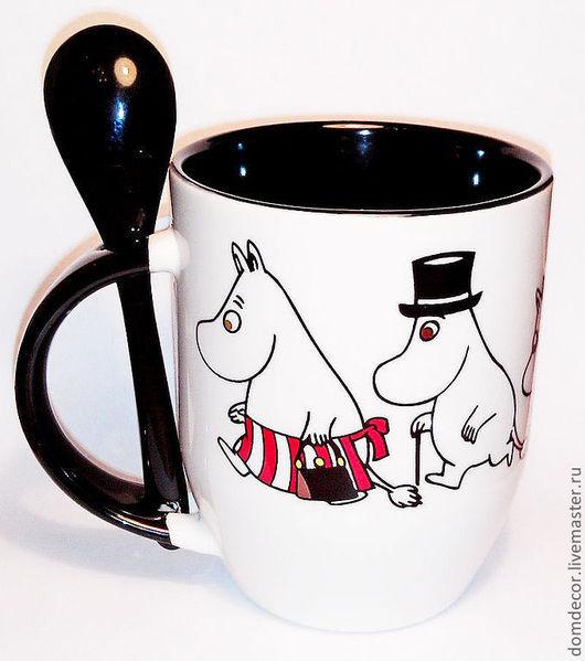 """Кружки и чашки ручной работы. Ярмарка Мастеров - ручная работа. Купить Чашка с ложкой """"Муми-тролли и новый день"""". Handmade."""