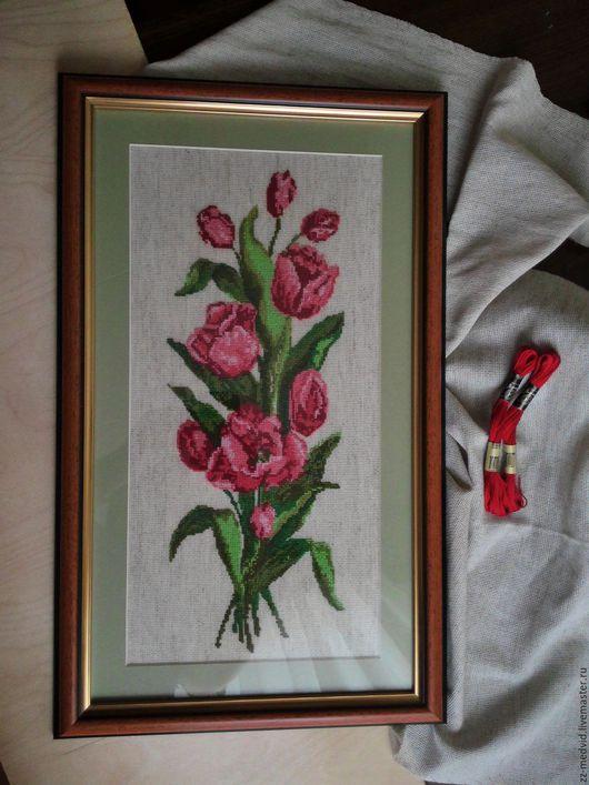 """Картины цветов ручной работы. Ярмарка Мастеров - ручная работа. Купить Вышивка крестом""""Тюльпаны"""" Ручная работа. Handmade. Ярко-красный"""