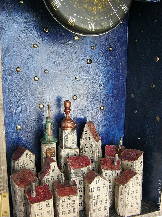 """Часы для дома ручной работы. Ярмарка Мастеров - ручная работа. Купить Часы """"Ночь"""". Handmade. Ручная работа, акриловые краски"""