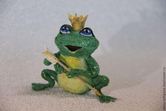"""Сказочные персонажи ручной работы. Ярмарка Мастеров - ручная работа. Купить Ёлочная игрушка из ваты """"Царевна-лягушка"""". Handmade. Зеленый"""