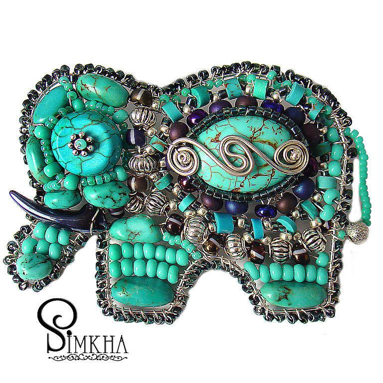 Brooch 'Elephant' No. №8 Turquoise, Brooches, Netanya, Фото №1
