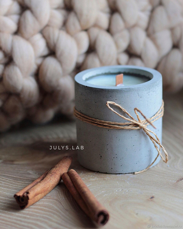 Соевая свеча в бетоне с древесным фителем в стиле Лофт, Свечи, Санкт-Петербург,  Фото №1