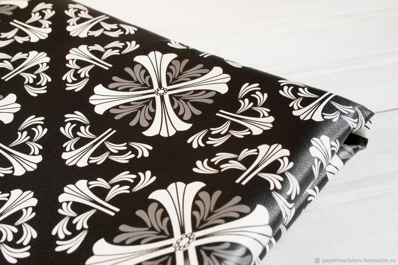 Черно-белый кожзаменитель Геральдика на х/б основе, Кожа, Москва,  Фото №1