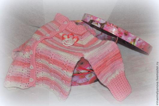 """Одежда для девочек, ручной работы. Ярмарка Мастеров - ручная работа. Купить Детский комплект крючком""""Розовый блик"""". Handmade. Розовый, шерсть"""