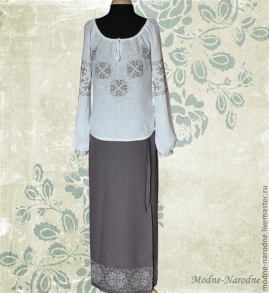 Костюм с ручной вышивкой Осенний Блюз.\r\nМодная одежда с ручной вышивкой. \r\nТворческое ателье Modne-Narodne.