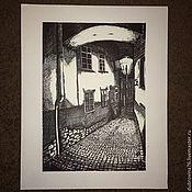 Картины и панно handmade. Livemaster - original item Picture. Prague. Night. Memories. Graphic arts. Handmade.