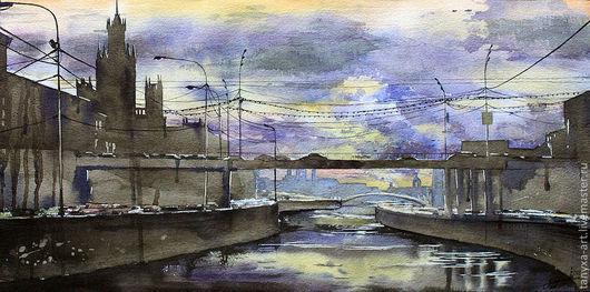 Город ручной работы. Ярмарка Мастеров - ручная работа. Купить Закат над Москвой-рекой. Handmade. Живопись, картина