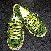 Обувь ручной работы. Ярмарка Мастеров - ручная работа Тапочки-кеды ярко-зеленые. Handmade.
