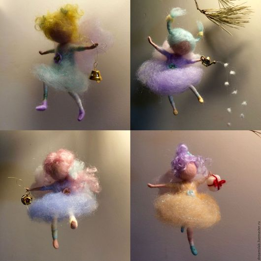 """Коллекционные куклы ручной работы. Ярмарка Мастеров - ручная работа. Купить Валяние """"Ангелочки к Рождеству"""". Handmade. Комбинированный, шерсть для валяния"""