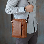 Сумки и аксессуары handmade. Livemaster - original item Men`s leather crossbody bag