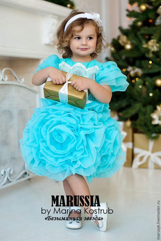 Одежда для девочек, ручной работы. Ярмарка Мастеров - ручная работа. Купить Платье Роза Любви бирюза ( БЗ). Handmade.