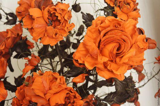 Интерьерные композиции ручной работы. Ярмарка Мастеров - ручная работа. Купить Интерьерный букет из роз. Handmade. Натуральная кожа
