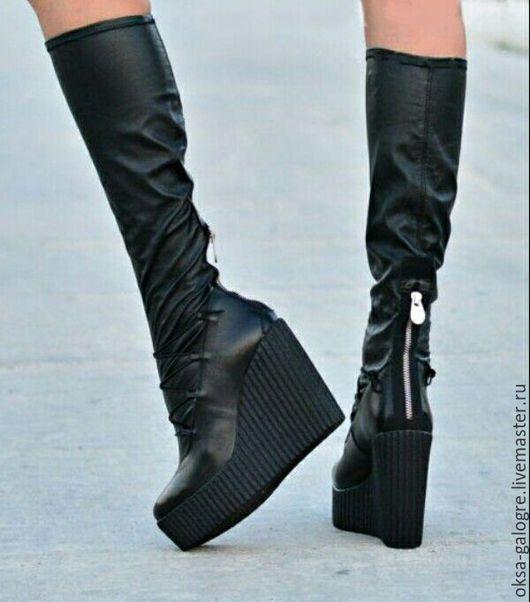Обувь ручной работы. Ярмарка Мастеров - ручная работа. Купить Стильные сапоги .. Handmade. Черный, сапоги женские