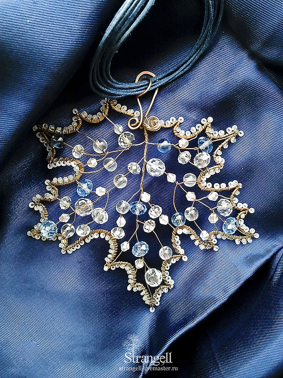 Large pendant Frosty Maple copper crystal winter leaf nature blue ice, Pendant, Ulan-Ude,  Фото №1
